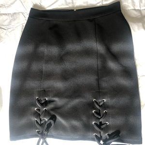Black Skirt with crossed design